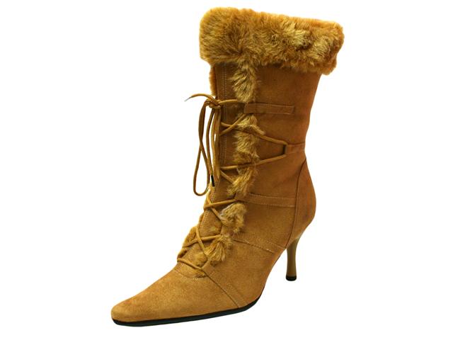 Camel Tan Lace Up Faux Fur Trim Retro Style Boots