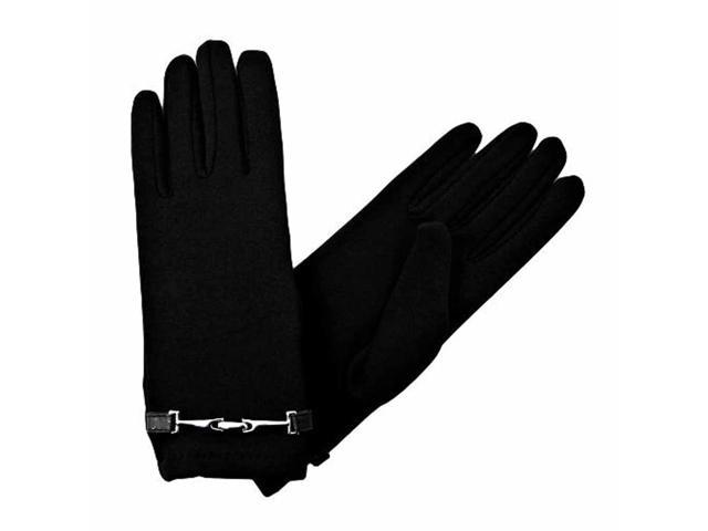 Black Gloves With Silver Buckle Accent