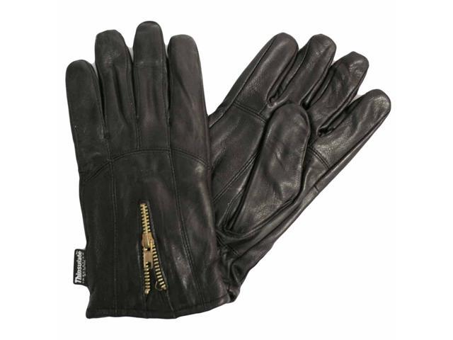 Black Leather Men's 3m Thinsulate Gloves With Zipper Closure