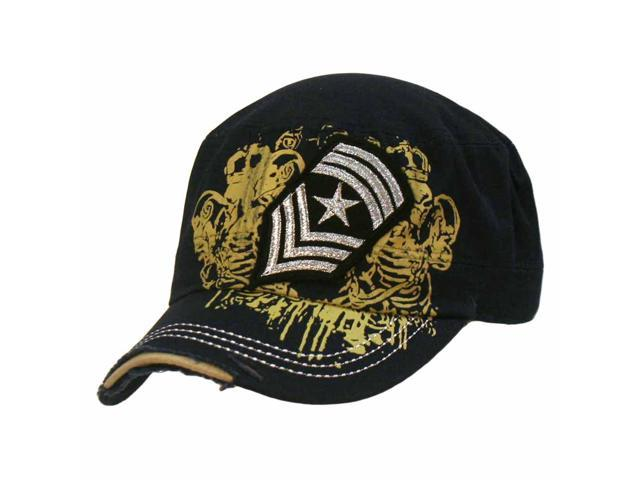 Navy Blue Military Cadet Cap Hat With Patch