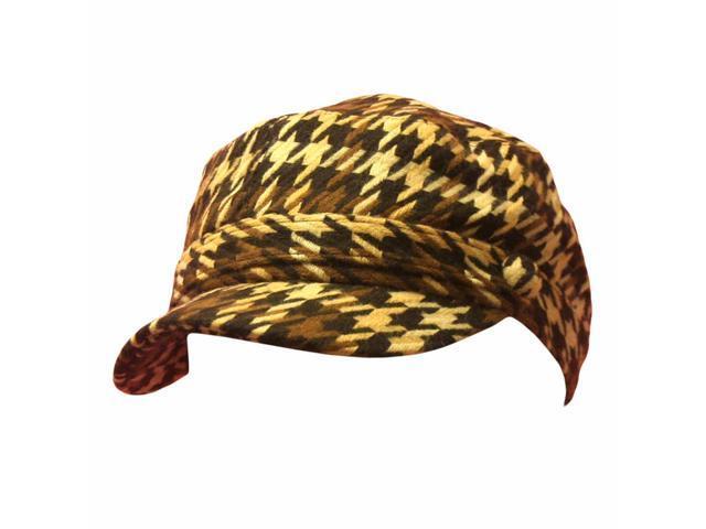 Brown Houndstooth Plaid Cadet Cap Hat