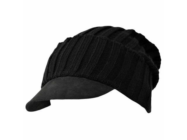 Black Acrylic Knit Slouch Beanie Cap Hat