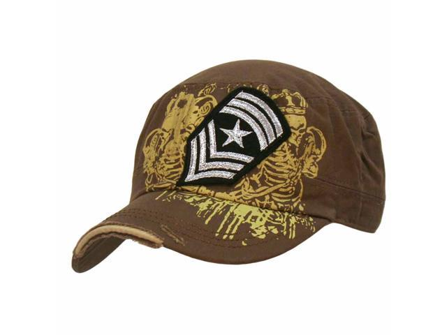 Brown Military Cadet Cap Hat With Patch