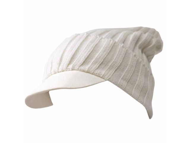 White Acrylic Knit Slouch Beanie Cap Hat