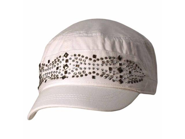 White Military Cadet Cap Hat With Silver Stud Design