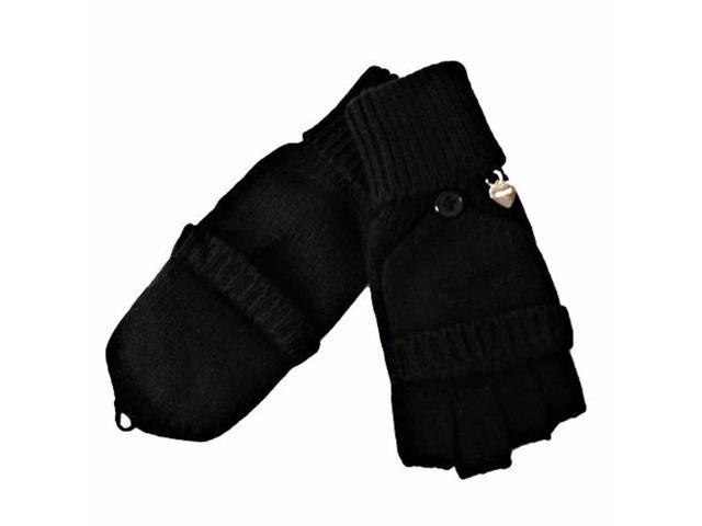Black Knit Half Fingerless Thumbs Mitten Gloves