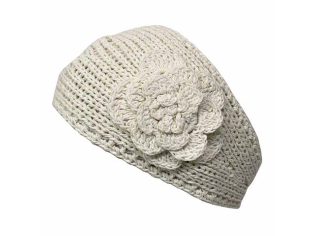 Ivory Knit Hand Made Headband With Flower Detail