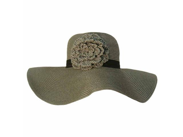 "Gray Wide 4.5"" Brim Floppy Hat With Crochet Flower"