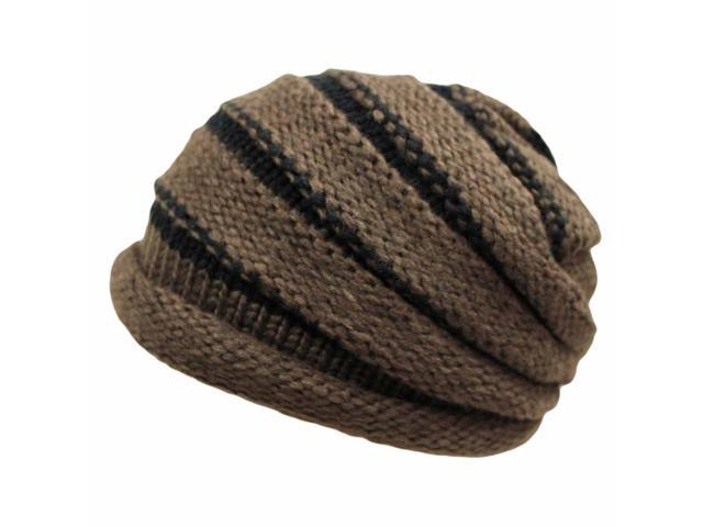 Brown Two-Tone Knit Layered Beanie Cap Hat