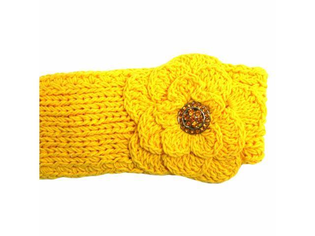 Yellow Hand Knit Headband With Rhinestone Flower