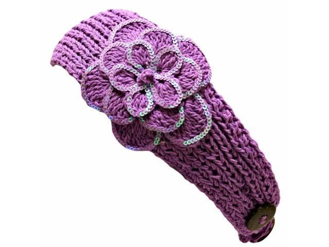 Lilac Crochet Headband With Sequin Flower Detail