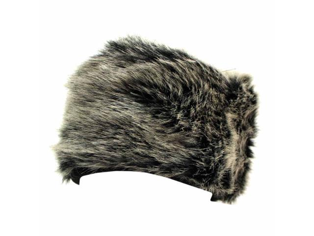 Black Plush Faux Fur Winter Cap Hat