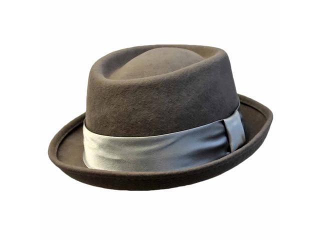 Gray Wool Felt Pork Pie Fedora Hat