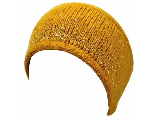 Yellow Heavy Knit Rhinestone Headband