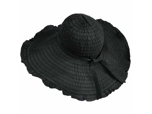 Black Wide Brim Floppy Sun Hat With Ruffled Brim