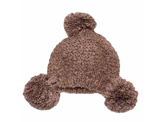 Brown Plush Knit Triple Pom-Pom Beanie Cap