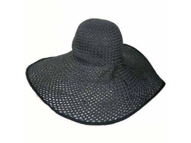 "Black Straw 8"" Wide Large Brim Floppy Hat"