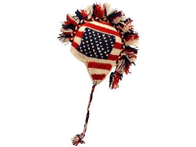 Red White Blue American Flag Mohawk Tassel Cap
