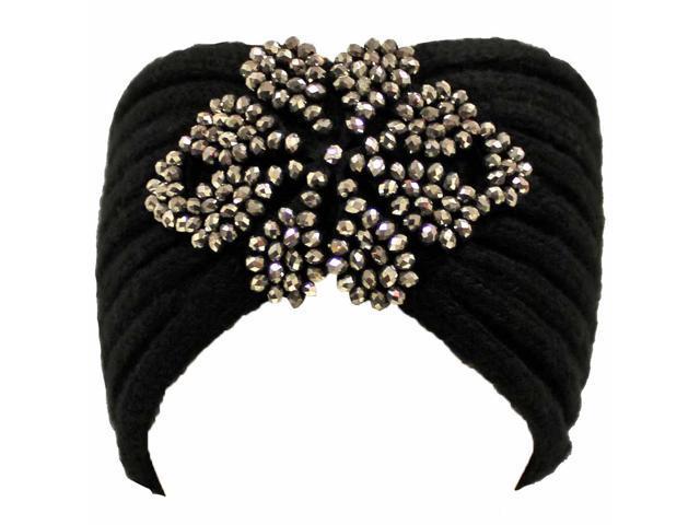 Black Knit Headband With Beaded Detail