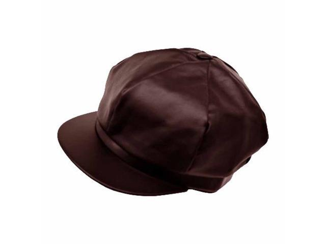 Dark Brown Genuine Leather 6 Panel Newsboy Cap Hat