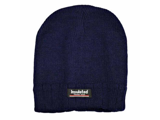 Navy Blue Tight Knit Thermal Wear Insulated Beanie Cap