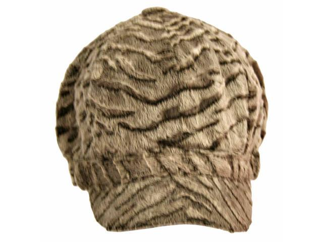 Brown Zebra Print Ultra Plush Newsboy Hat