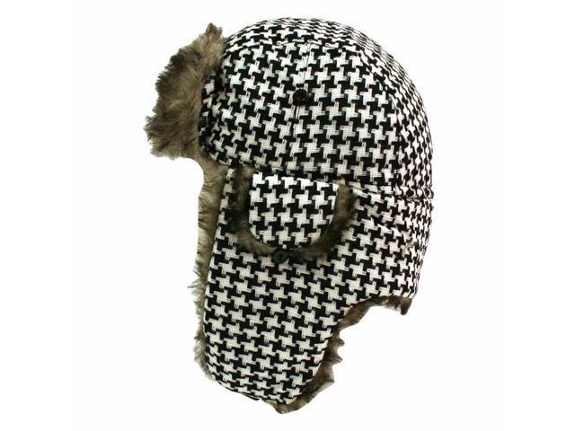 Black & White Houndstooth Trooper Aviator Hat