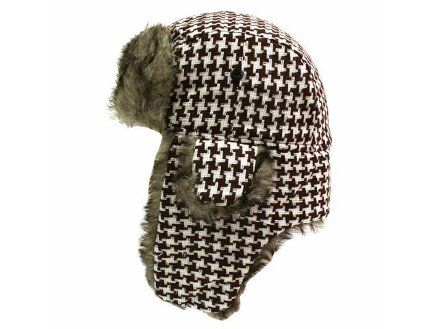 Brown & White Houndstooth Faux Fur Lined Trooper