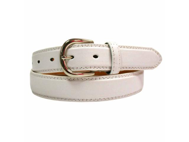 Men's White Leather Dress Belt With Silver Buckle