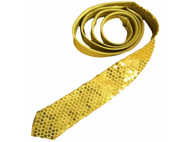 Gold Sequin Thin Unisex Neck Tie