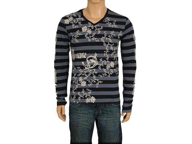 Black & Gray Striped Men's V Neck With Scroll Print