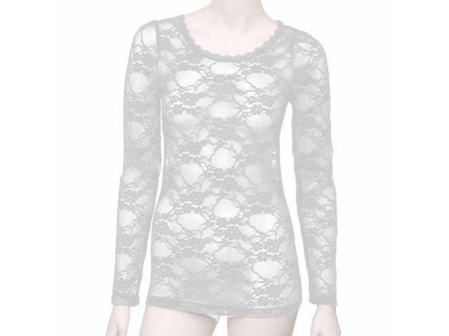 White Junior Cut Long Sleeve Lace See Thru Top