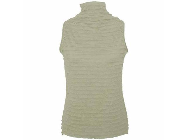 Gray High Collar Ruffle Sleeveless Top Size Medium
