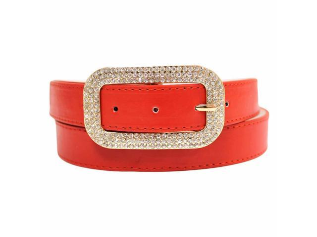Red Classic Belt With Rhinestone Jeweled Buckle