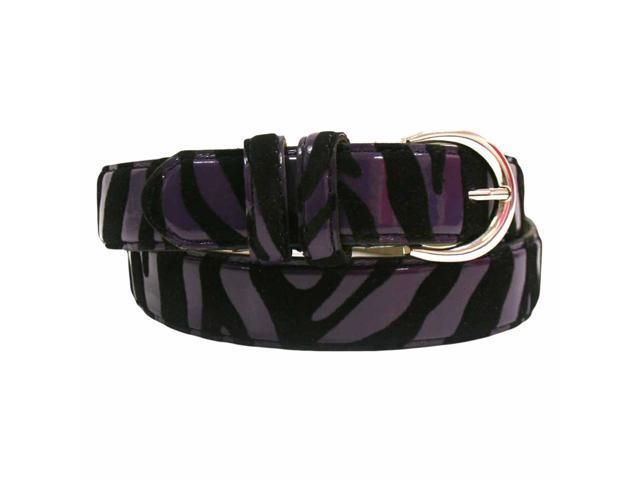 Purple & Black Zebra Striped Leather Belt