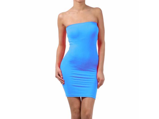 Turquoise One Piece Tube Style Spandex Strapless Dress