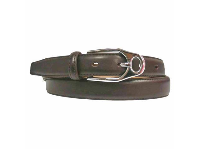 Brown Slim Leather Belt With Silver Buckle