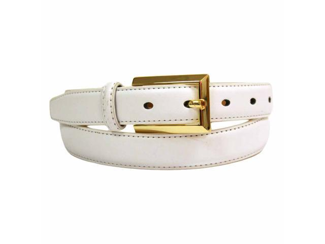 White Leather Dress Belt With Gold Buckle