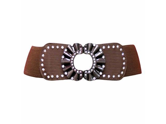 Brown Wide Elastic Cinch Belt With Rhinestone Metal Buckle