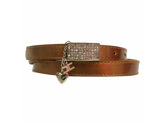 Bronze Thin Metallic Belt With Rhinestone Buckle