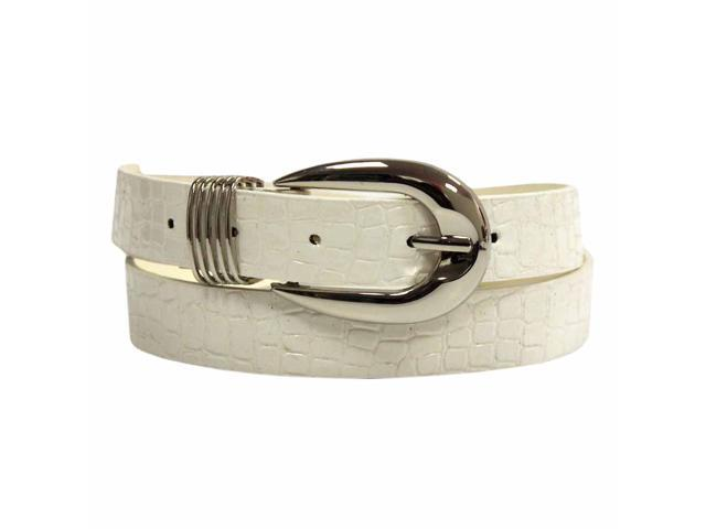 White Crocodile Textured Patent Leather Belt