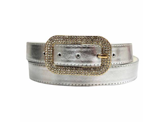 Silver Classic Belt With Rhinestone Jeweled Buckle