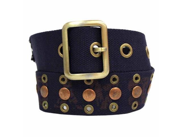Navy Blue Canvas Belt With Brass Grommets