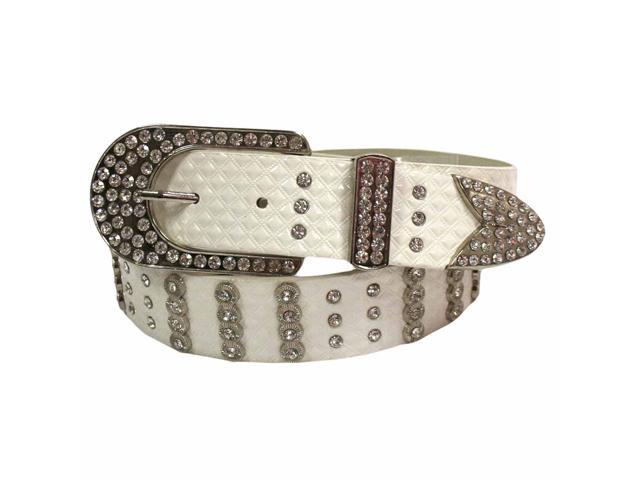 White Rhinestone Studded Textured Belt