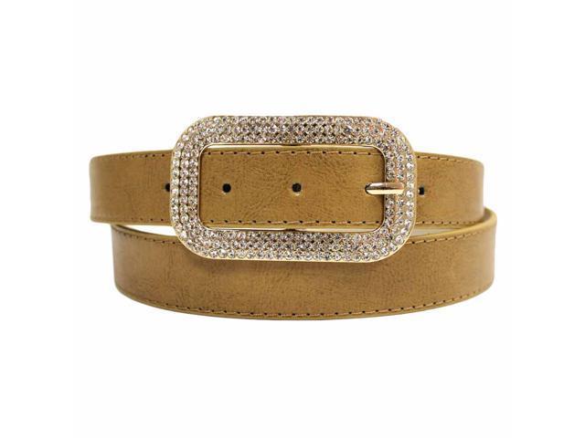 Beige Classic Belt With Rhinestone Jeweled Buckle