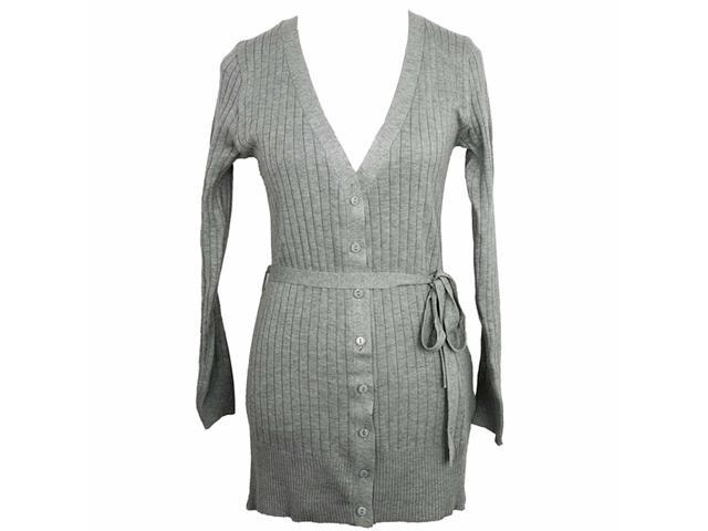 Classic Long Light Gray Ribbed Cardigan Sweater