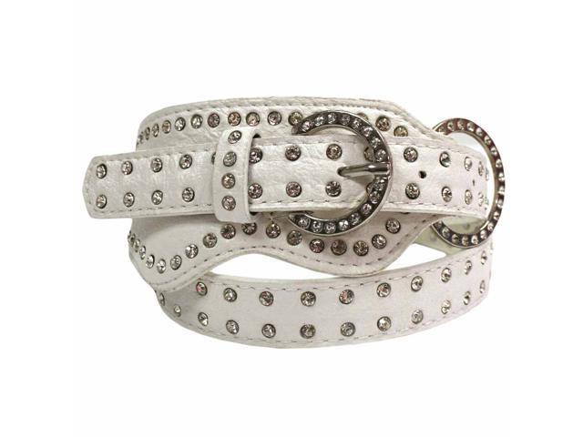 White Rhinestone Trim Wide Cinch Belt
