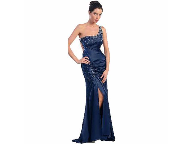 One Shoulder Navy Blue Rhinestone Full Length Gown