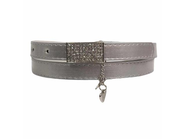 Silver Thin Metallic Belt With Rhinestone Buckle