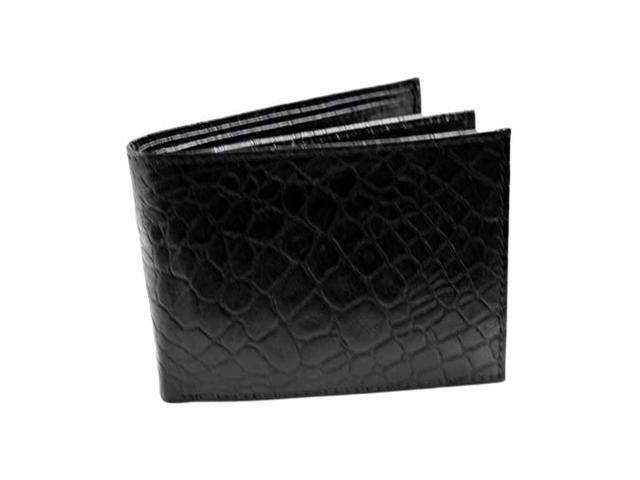 Alligator Style Black Leather Bifold Wallet
